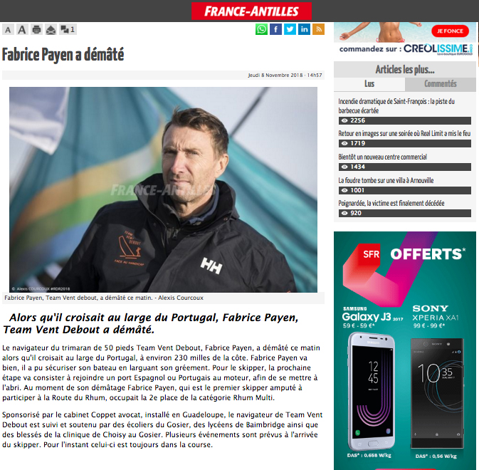 Article France-Antilles : Fabrice Payen